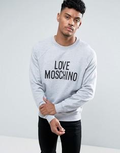 Серый свитшот с тисненым логотипом Love Moschino - Серый