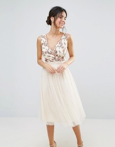 Платье миди из тюля с вышивкой на лифе Little Mistress - Кремовый