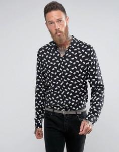 Рубашка с принтом AllSaints - Черный