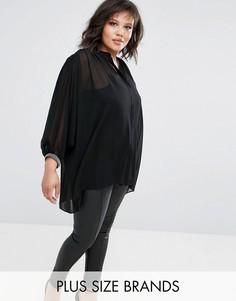 Oversize-рубашка с декоративной отделкой Elvi - Черный