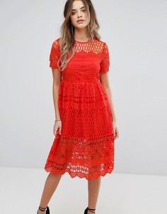 Кружевное приталенное платье Boohoo - Красный