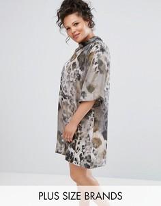 Платье со звериным принтом и воротником-стойкой Elvi - Мульти