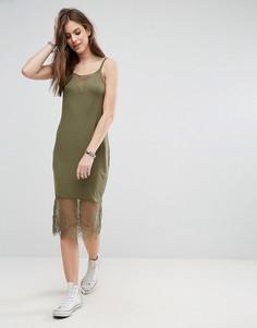Платье на бретелях с кружевной вставкой Noisy May Lana - Зеленый