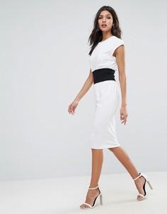 Платье-футболка миди с корсетной отделкой ASOS - Белый