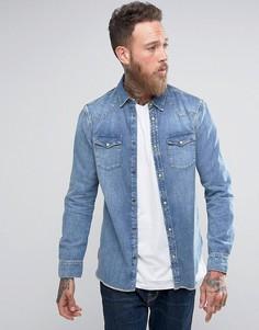 Джинсовая рубашка классического кроя AllSaints - Синий