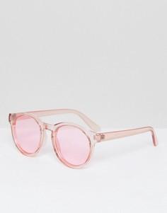 Круглые солнцезащитные очки с розовыми затемненными стеклами AJ Morgan - Розовый