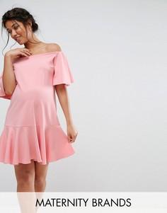 Платье с широким вырезом и оборками Queen Bee - Розовый