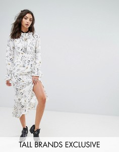 Платье макси с цветочным принтом и асимметричным краем Glamorous Tall - Мульти