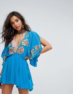 Платье с вышивкой Free People Cora - Синий