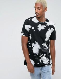 Черная длинная футболка с принтом батик ASOS - Черный