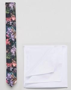 Узкий галстук с цветочным принтом и платок для нагрудного кармана ASOS - Черный