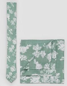 Галстук с цветочным принтом и однотонный платок для пиджака ASOS - Зеленый