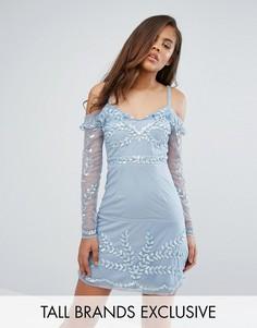 Платье мини с открытыми плечами и отделкой Maya Tall - Синий