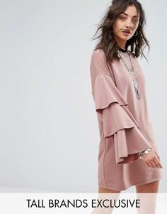 Трикотажное платье с двойными оборками на рукавах Glamorous Tall - Коричневый