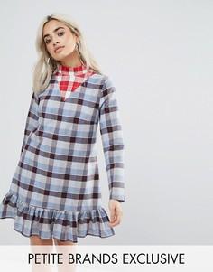 Платье мини с оборками и принтом тартан Glamorous Petite - Мульти