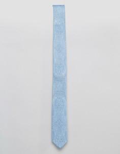 Узкий галстук с принтом пейсли ASOS - Синий