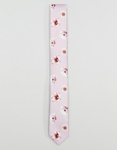 Галстук с цветочным принтом ASOS - Розовый