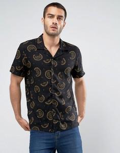 Черная рубашка классического кроя с цветочным принтом New Look - Черный