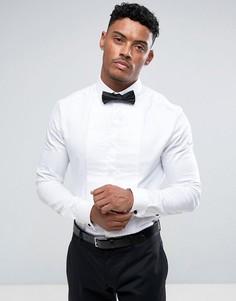 Облегающая рубашка со срезанным воротником и плиссированной планкой ASOS - Белый
