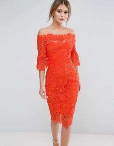 Платье кроше с открытыми плечами и рюшами на рукавах Paper Dolls - Оранжевый