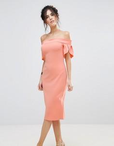 Платье-футляр миди с отделкой на рукавах Club L - Розовый