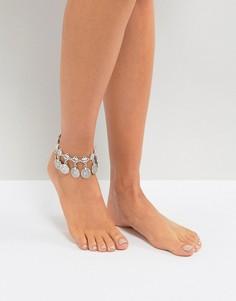 Браслет на ногу с монетками DesignB - Серебряный