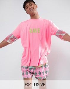 Свободная футболка с неоновой надписью Rave Reclaimed Vintage Inspired - Розовый