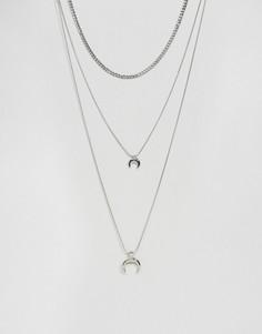 Ярусное ожерелье с подвесками DesignB - Серебряный