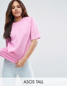 Свободная футболка с подплечниками ASOS TALL - Розовый