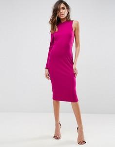 Платье миди с одним рукавом ASOS - Розовый