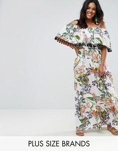 Платье макси с открытыми плечами, помпонами и цветочным принтом Boohoo Plus - Белый
