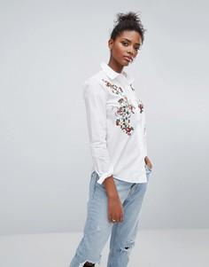 Рубашка с вышивкой на груди Only - Белый