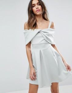 Короткое расклешенное платье с бантом ASOS - Синий