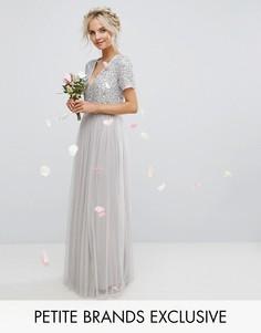 Платье макси с декорированным лифом и тюлевой юбкой Maya Petite - Серый