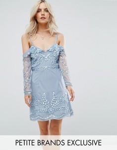 Платье мини с открытыми плечами и отделкой Maya Petite - Синий