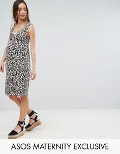 Платье с перекрученными бретелями и леопардовым принтом ASOS Maternity - Мульти