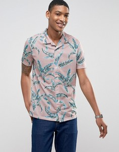 Рубашка с короткими рукавами, отложным воротником и принтом LDN DNM - Розовый
