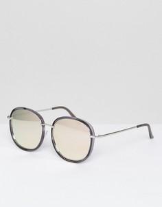 Серые круглые солнцезащитные очки в пластмассовой/металлической оправе AJ Morgan - Черный