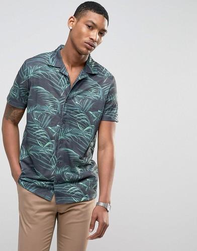 Рубашка с короткими рукавами, отложным воротником и принтом LDN DNM - Черный