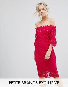 Кружевное платье-футляр с открытыми плечами Paper Dolls Petite - Розовый