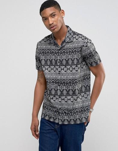 Рубашка с короткими рукавами, отложным воротником и принтом LDN DNM - Красный