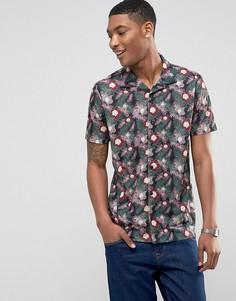 Рубашка с короткими рукавами, отложным воротником и принтом LDN DNM - Белый