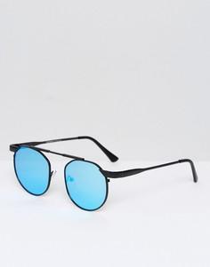 Круглые солнцезащитные очки с планкой сверху АJ Morgan - Черный
