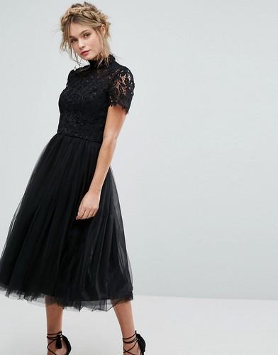Платье миди с кружевным лифом и тюлевой юбкой Chi Chi London - Черный