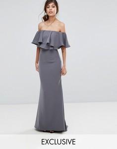 Платье макси с открытыми плечами и рюшами Jarlo - Серый