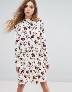 Платье-рубашка из крепа с принтом Ganni Maxwell - Красный