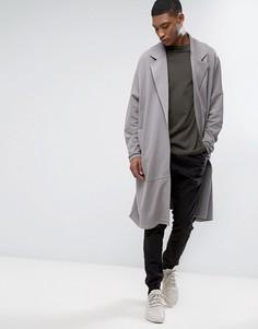Длинное легкое трикотажное пальто в стиле oversize ASOS - Серый