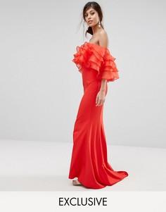 Платье макси с верхом из органзы Jarlo - Красный