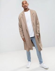 Длинное легкое трикотажное пальто в стиле oversize ASOS - Бежевый