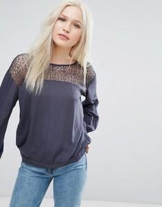 Блузка с кружевной отделкой b.Young - Синий